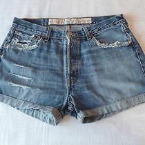 Vintage Levis 501 High Waist Denim Shorts Size 14 Sewn Hem Destroyed Photo