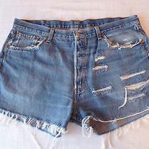 Vintage Levis 501 High Waist Denim Shorts Size 20 Custom/ Distressed Photo