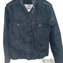 Vintage Levis Black Denim Jean Jacket Zipper Button Up Mens Size S Photo