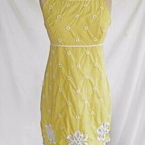 Vintage Lilly Pulitzer Dress Empire Embroidered Flowers Circles Yellow Scallop 2 Photo