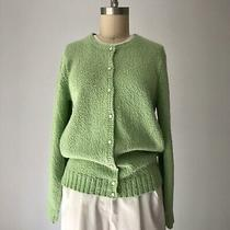 Vintage Lime Green Knit Cardigan Sweater Cotton Small Photo