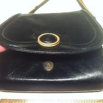 Vintage Linda Allard Ellen Tracy Black Leather Purse Bag W/ Gold Chain & Pendant Photo
