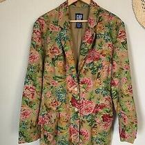 Vintage Linen Gap Floral Lined Boyfriend Fall Blazer Size Large Photo