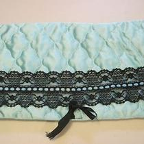 Vintage Lingerie Bag Quilted Fold Over Aqua Black Lace Very Nice Condition Photo