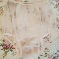 Vintage Lingerie Panties Puffy Sheer Blush Pink Gusset Sz L Made in Usa Photo