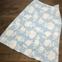 Vintage Liz Claiborne Lizsport Floral 100% Linen Midi Skirt Size 14 Blue White Photo