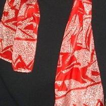 Vintage Liz Claiborne Tomato Red Ecru Silk Oblong 11x53