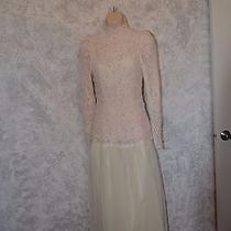 Vintage Long Sleeve Blush Tinted Lace Hand Made Wedding Dress Sz S   1739 Photo