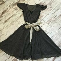 Vintage Look Black & White Silk Express Polka Dot a-Line Dress W Waist Tie Sz Xs Photo