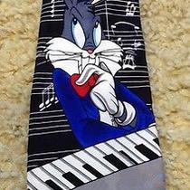 Vintage Looney Tunes Mania Necktie Bugs Bunny Piano Musical Notes '95 Warner Bro Photo