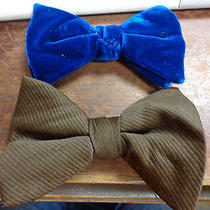 Vintage Lot 2 Large Blue Crushed Velvet & Brown Polyester Dickie Bow Ties 1970s Photo