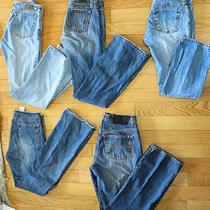 Vintage Lot 5 Pairs Blue Jeans Express Buffalo Old Navy Sizes  26 28 29   0 2 4 Photo