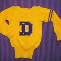 Vintage Lowe & Campbell Letterman 'D' Varsity Sweater 38 Yellow/purple Photo