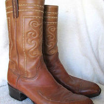 Vintage...lucchese...brown Leather...western...cowboy...boots...sz 12d Photo
