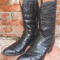 Vintage Lucchese Full American Alligator American Classics Black Boots Size 12 D Photo
