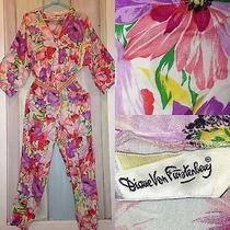 Vintage M 80s Diane Von Furstenberg Rayon Jumpsuit Floral Playsuit Romper Jumper Photo
