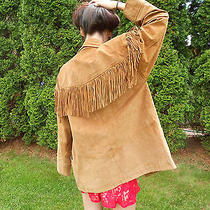 Vintage M Minnetonka Suede Fringe Jacket Coat Festival Boho Indian Buttons Photo