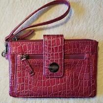 Vintage Magenta Kenneth Cole Unlisted Croc Clutch or Wristlet Photo