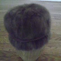 Vintage Medium-Brown Mink Hat With Satin Ribbon & Bow Size S by Hudson's Photo
