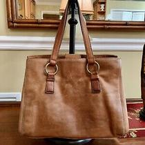 Vintage Medium Brown Soft Top Grain Genuine Leather Fossil Satchel Handbag Photo