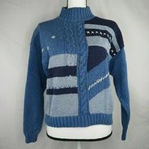Vintage Melbourne Elements Knit Sweater Sz M Top Blue White Womens Mock Photo