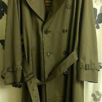 Vintage Men's Burberry Belted Trench Khaki 42l Photo