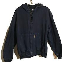Vintage Mens Carhartt Bomber Canvas Work Jacket Size 2xl Navy Blue Hooded Xxl Photo