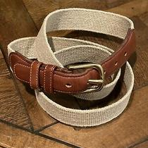 Vintage Men's Coach Belt Natural Linen & Leather Brass Buckle Size 38 Photo