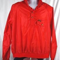 Vintage Men's Eddie Bauer Red Windbreaker Light Henley 90s Jacket Sz Large L O4a Photo