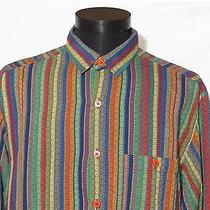 Vintage Men's Missoni Long Sleeve Striped Multi-Color Cotton Dress Shirt Nice Photo
