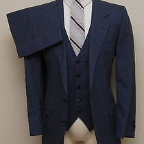 Vintage Mens 38r Yves Saint Laurent 3 Piece Blue Pinstripe Wool Suit Photo