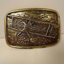 Vintage Mens Belt Buckle Bi Plane Propeller Wwi Airplane by Avon Brass Tone Photo
