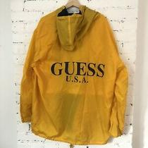 Vintage Mens Guess Jeans Usa Spellout Windbreaker Yellow Rain Jacket Size Large Photo