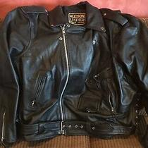 Vintage Mens Hudson Genuine Leather Motorcycle Biker Jacket Black Size 64 Belted Photo