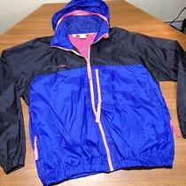 Vintage Mens L Columbia Radial Sleeve Full Zip Windbreaker Jacket Neon Hooded Photo