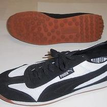 Vintage Mens Puma Anjan Black White Suede Mesh Shoes Sneakers 12 Photo