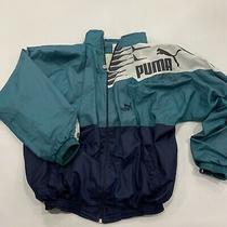 Vintage Mens Puma Nylon Track Jacket Size Xl Blue Teal Full Zip Photo