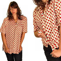 Vintage Mens Shirt Christian Dior  Red  White Large  Polka Dots 1970s Photo