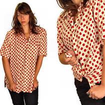 Vintage Mens Shirt Christian Dior  Red  White Large  Polka Dots 1970s Photo