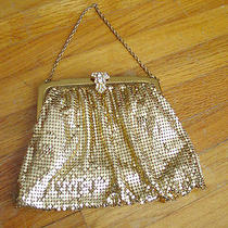 Vintage Mesh Whiting & Davis Co. Bags Gold Rhinestone Clasp Wrist Hand Purse Photo