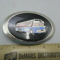 Vintage Metal Green Enamel Blue & White Express City Bus Belt Buckle Photo