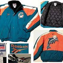 Vintage Miami Dolphins Mens Medium Reebok Pro-Line Quilt-Lined Jacket/coatusa Photo