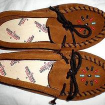Vintage Minnetonka Moccasins Brown Suede Beaded Shoes Slippers Kids' Size 12 Photo