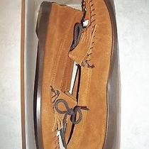 Vintage Minnetonka Suede Leather Native American Thunderbird Moccasin Shoes 10 Photo