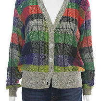 Vintage Missoni Multicolor Checkered Loose Knit Cardigan Sz M Photo