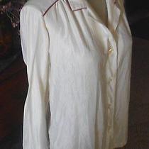 Vintage Monogramed Christian Dior Lingerie Top Button Front Sleep Shirt Sz M/l  Photo