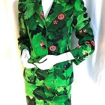 Vintage Moschino Couture Emerald Green Power Suit 90s Street Style Tropic Print Photo