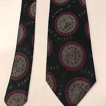 Vintage Moschino Milano Watch Clock Silk Tie Multi Color Made in Italy Photo