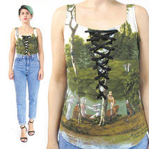 Vintage Moschino Top Sleeveless Cotton Blouse Corset Lace Up Designer Victorian Photo