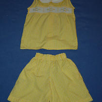Vintage Mother Goose Smocked Girls Size 6y Shorts Shirt Yellow Gingham Daisy Photo